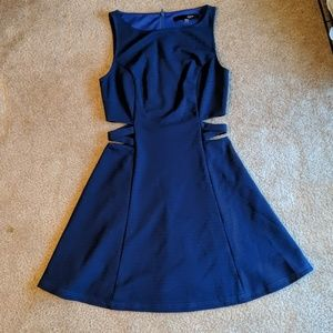 Blue Fit and Flare Dress with Cutouts